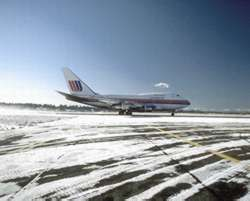 Airplane on a snowy runway